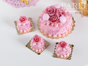 Pink Rose Genoise Pastry (Round) - 12th Scale Miniature Food