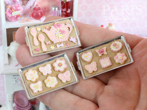 Novelty Shaped Pink Teatime Cookies on Baking Sheet (Teapot, Spoons) - Miniature Food