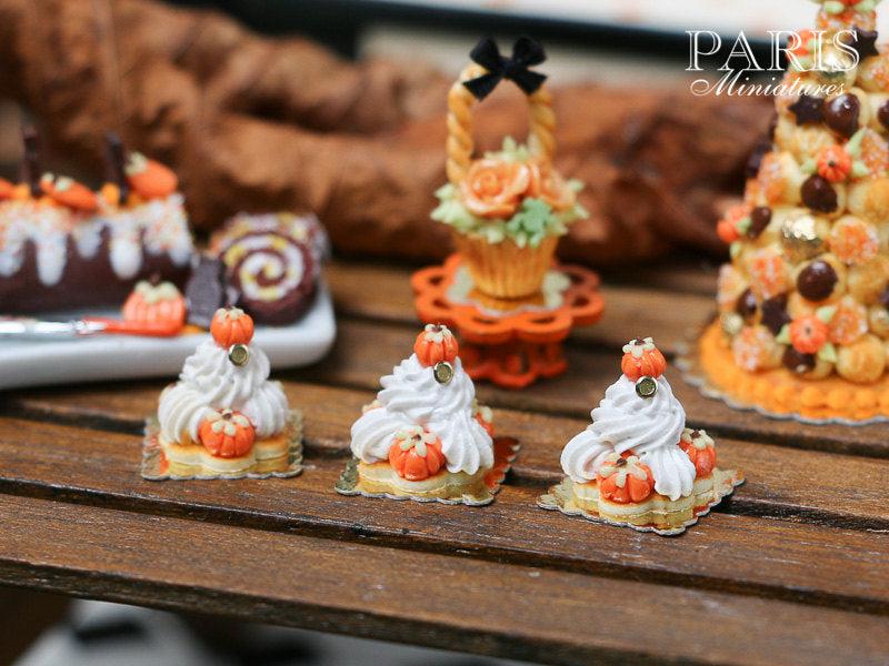 Pumpkin St Honoré for Autumn/Fall - 12th Scale French Miniature Food