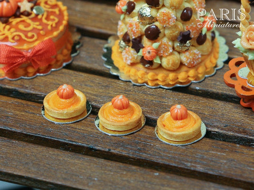 Pumpkin Pie Tartlet for Autumn/Fall - 12th Scale French Miniature Food