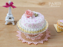 Load image into Gallery viewer, Pink and White Cake decorated with Pink Rose - 1/12 Scale Miniature Food