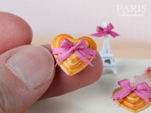 Trio of Heartshaped butter Cookies Tied with Pink Silk Ribbon - 1/12 scale miniature food