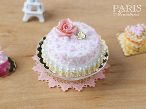 Pink and White Cake decorated with Pink Rose - 1/12 Scale Miniature Food