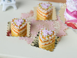 French Buttery Shortbread Millefeuille – Valentine's Pastry - Pink Version - Miniature Food