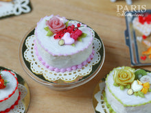 Load image into Gallery viewer, Heartshaped Pink Rose and Red Currant Cake - Miniature Food