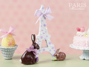 """Easter in Paris"" Eiffel Tower and Chocolate Bunny Miniature Decoration Lilac Ribbon"