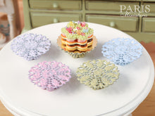Load image into Gallery viewer, Ornate Metal Filigree Cake Stand (Choice of Green, Pink, Lilac, Baby Blue) - 2.5 cm / 1 inch diameter. 12th Scale Dollhouse Miniature