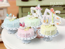 Load image into Gallery viewer, Easter Pastel Fondant Cake (Yellow) on Shabby Chic Stand - Miniature Food