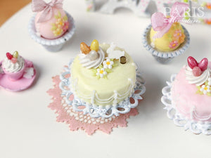 Easter Pastel Fondant Cake (Yellow) on Shabby Chic Stand - Miniature Food
