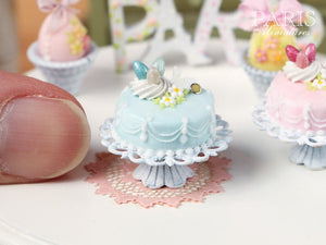 Easter Pastel Fondant Cake (Blue) - Miniature Food in 12th Scale for Dollhouse