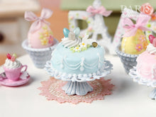 Load image into Gallery viewer, Easter Pastel Fondant Cake (Blue) - Miniature Food in 12th Scale for Dollhouse