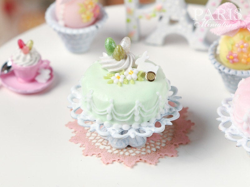 Easter Pastel Fondant Cake (Green) - Miniature Food in 12th Scale for Dollhouse