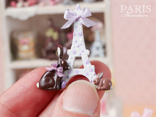 "Load image into Gallery viewer, ""Easter in Paris"" Eiffel Tower and Chocolate Bunny Miniature Decoration Lilac Ribbon"