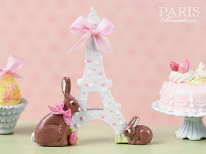 """Easter in Paris"" Eiffel Tower and Chocolate Bunny Miniature Decoration Pink Ribbon"