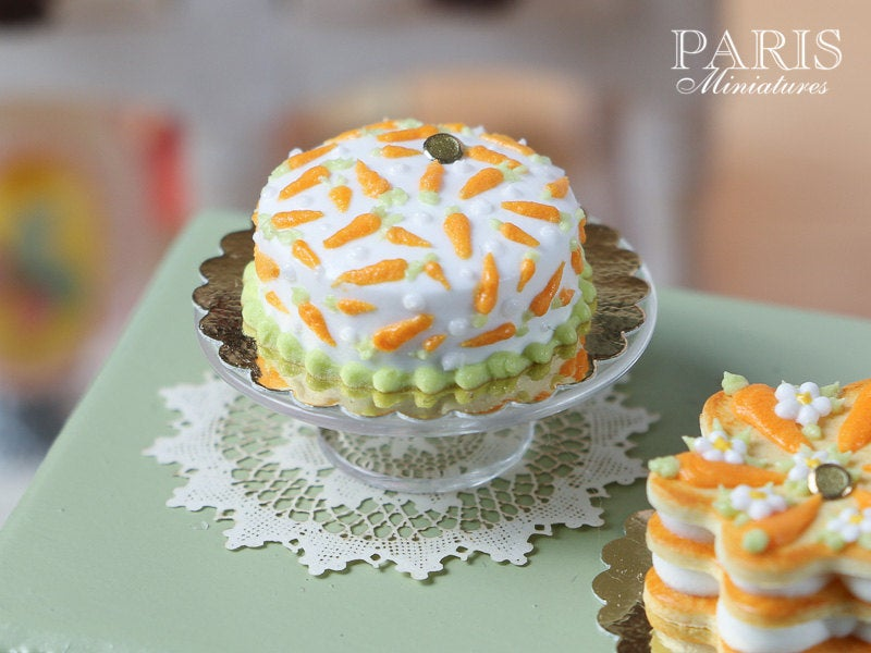 Easter Cake with Hand-piped Carrot Decoration - Miniature Food in 12th Scale for Dollhouse