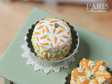 Load image into Gallery viewer, Easter Cake with Hand-piped Carrot Decoration - Miniature Food in 12th Scale for Dollhouse