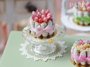 Easter Charlotte (Pink Eggs and Ribbon) - Miniature Food in 12th Scale for Dollhouse