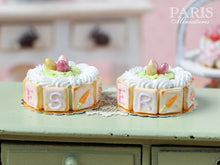 Load image into Gallery viewer, Easter Cream Cake with Candy Egg Nest - with EASTER or PÂQUES Letter Cookies - Miniature Food
