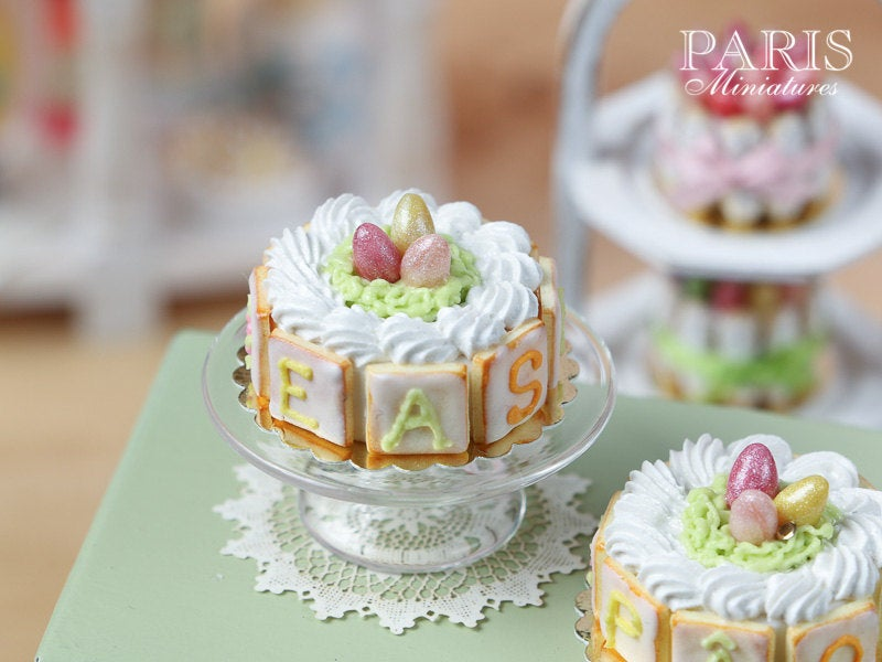 Easter Cream Cake with Candy Egg Nest - with EASTER or PÂQUES Letter Cookies - Miniature Food