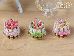 Easter Charlotte (Multi-Coloured Eggs and Green Ribbon) - Miniature Food in 12th Scale for Dollhouse