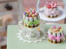 Load image into Gallery viewer, Easter Charlotte (Multi-Coloured Eggs and Green Ribbon) - Miniature Food in 12th Scale for Dollhouse