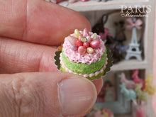 Load image into Gallery viewer, Easter Cake Decorated with Candy Eggs in Pink 'Nest' - Miniature Food in 12th Scale