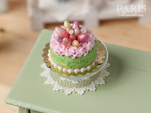 Easter Cake Decorated with Candy Eggs in Pink 'Nest' - Miniature Food in 12th Scale