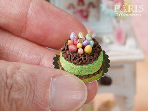 Easter Cake Decorated with Candy Eggs in Chocolate 'Nest' - Miniature Food in 12th Scale