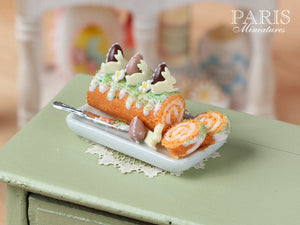 Easter Swiss Roll - Miniature Food in 12th Scale
