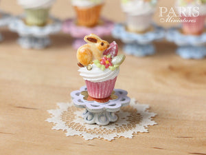 "Easter ""Showstopper Cupcake (A) - Bunny Cookie, Eggs, Blossom - Miniature Food in 12th Scale"