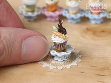 "Load image into Gallery viewer, Easter ""Showstopper Cupcake (B) - Chocolate Bunny, Carrot, Egg - Miniature Food in 12th Scale"