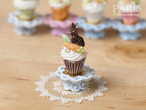 "Easter ""Showstopper Cupcake (B) - Chocolate Bunny, Carrot, Egg - Miniature Food in 12th Scale"