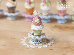 "Easter ""Showstopper Cupcake (C) - Pink Egg - Miniature Food in 12th Scale"