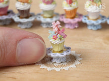 "Load image into Gallery viewer, Easter ""Showstopper"" Cupcake (K) - Pink Egg, Two Rabbits, Blossoms - Miniature Food in 12th Scale"