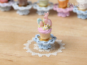 "Easter ""Showstopper Cupcake (L) - Pink Rabbit, Pink Cream - Miniature Food in 12th Scale"