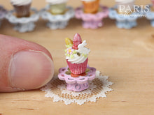 "Load image into Gallery viewer, Easter ""Showstopper Cupcake (O) - White Rabbit, Coloured Easter Eggs, Pink Stand"
