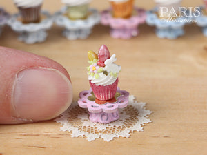 "Easter ""Showstopper Cupcake (O) - White Rabbit, Coloured Easter Eggs, Pink Stand"