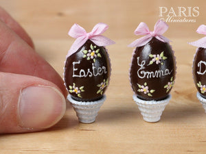 PERSONALISED Chocolate Easter Egg in Shabby Chic Pot. Choose your name / text! Miniature Food