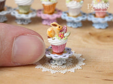 "Load image into Gallery viewer, Easter ""Showstopper Cupcake (A) - Bunny Cookie, Eggs, Blossom - Miniature Food in 12th Scale"