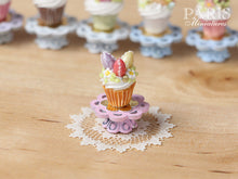 "Load image into Gallery viewer, Easter ""Showstopper Cupcake (D) - Three Eggs, Red, Lilac, Yellow - Miniature Food in 12th Scale"