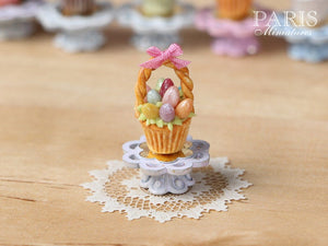 "Easter ""Showstopper"" Cupcake (I) - Basket of Coloured Eggs - Miniature Food in 12th Scale"