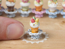 "Load image into Gallery viewer, Easter ""Showstopper Cupcake (J) - Three Eggs, Red, Yellow, Green - Miniature Food in 12th Scale"