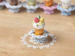 "Easter ""Showstopper Cupcake (J) - Three Eggs, Red, Yellow, Green - Miniature Food in 12th Scale"