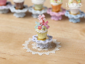 "Easter ""Showstopper"" Cupcake (K) - Pink Egg, Two Rabbits, Blossoms - Miniature Food in 12th Scale"