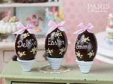 Load image into Gallery viewer, PERSONALISED Chocolate Easter Egg in Shabby Chic Pot. Choose your name / text! Miniature Food