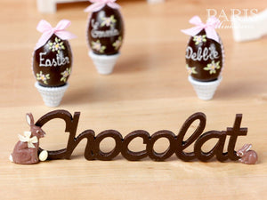 "French ""Chocolat"" Sign for Easter - Miniature Decoration in 12th Scale"