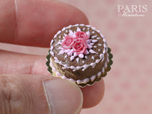 Load image into Gallery viewer, Chocolate Cake decorated with trio of Pink Roses - Miniature Food