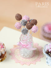 Load image into Gallery viewer, Pink and Chocolate Cake Pops - Miniature Food in 12th Scale for Dollhouse