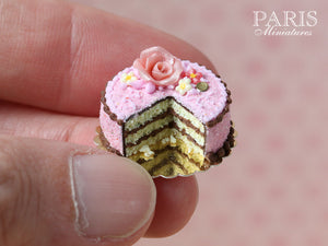 Pink And Chocolate Layer Cake decorated with Pink Rose - Miniature Food in 12th Scale for Dollhouse