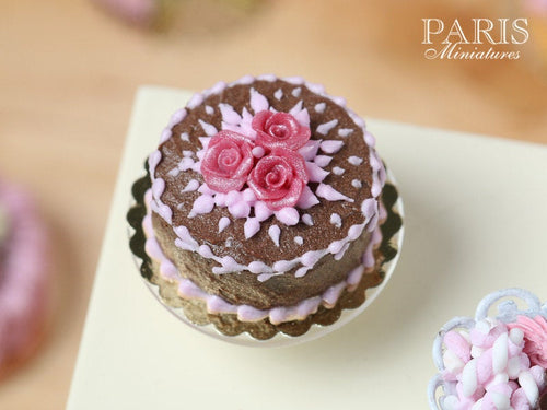 Chocolate Cake decorated with trio of Pink Roses - Miniature Food